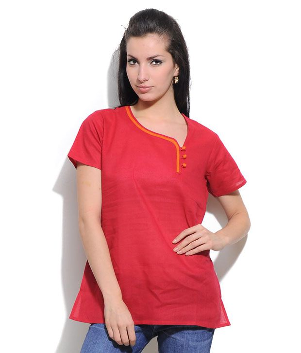 Erato Red Cotton Short Kurti
