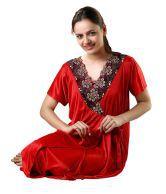 Topshe Topshe  Exotic Red Sleepwear For Women
