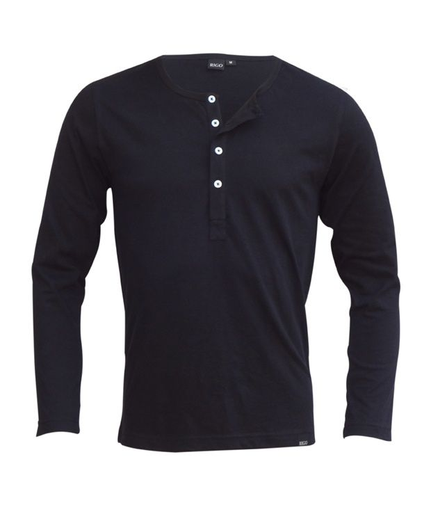 Rigo Black Slim Fit Henley T-Shirt