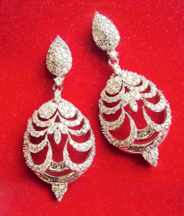 Aradhyaa Zircon Studded Pearl   Hanging Earrings
