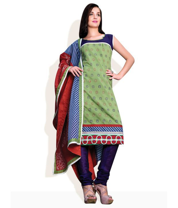 Triveni Pink Embroidered Cotton Unstitched Suit With Dupatta