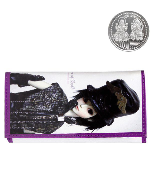 The Pari Doll Printed White Wallet With Free Silver Plated Coin