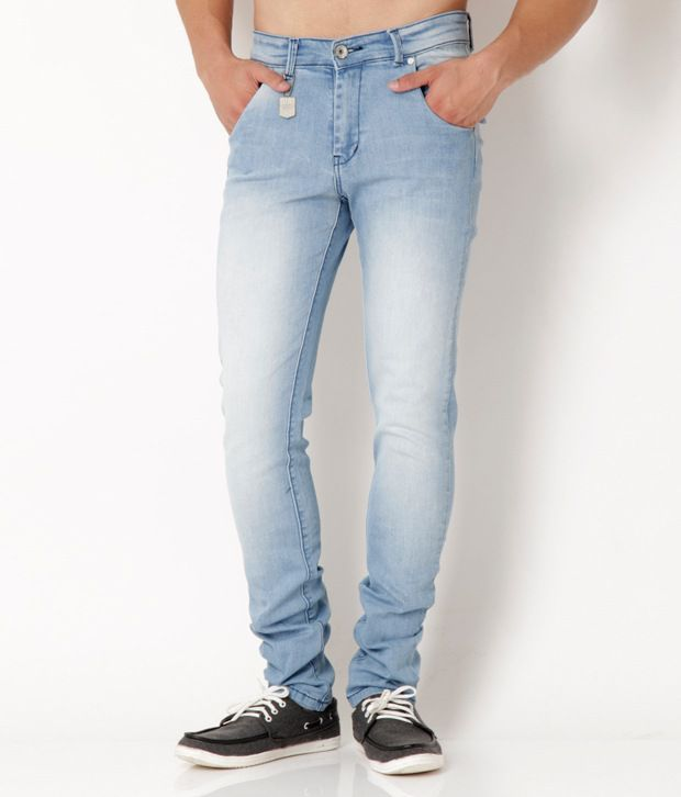 Urban Navy Trendy Light Blue Faded Stretchable Jeans