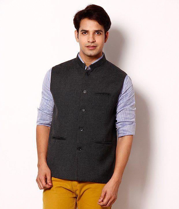 Zion Classic Grey Nehru Jacket - Buy Zion Classic Grey Nehru