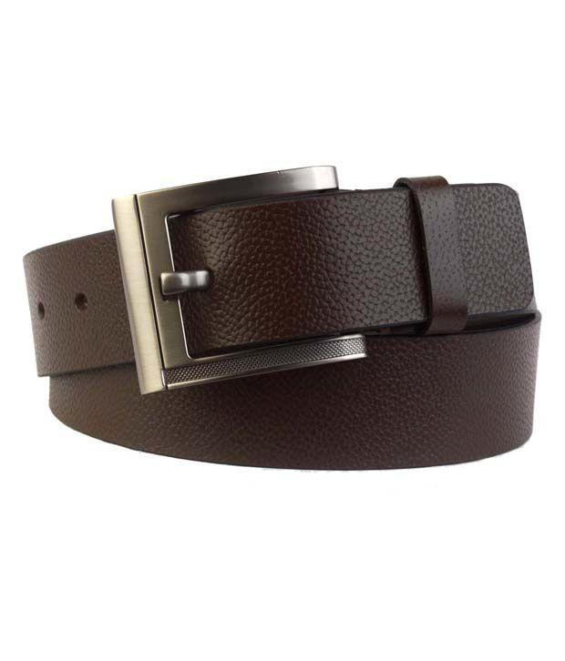 Shopatplaces Dark Brown Textured Finish Belt