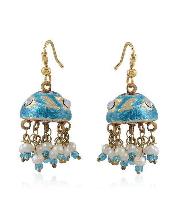 Bling Rajrang Blue Fashionable Earrings
