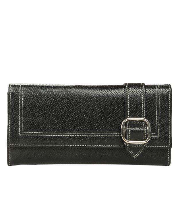 Adora Black Contrast Stitched Wallet
