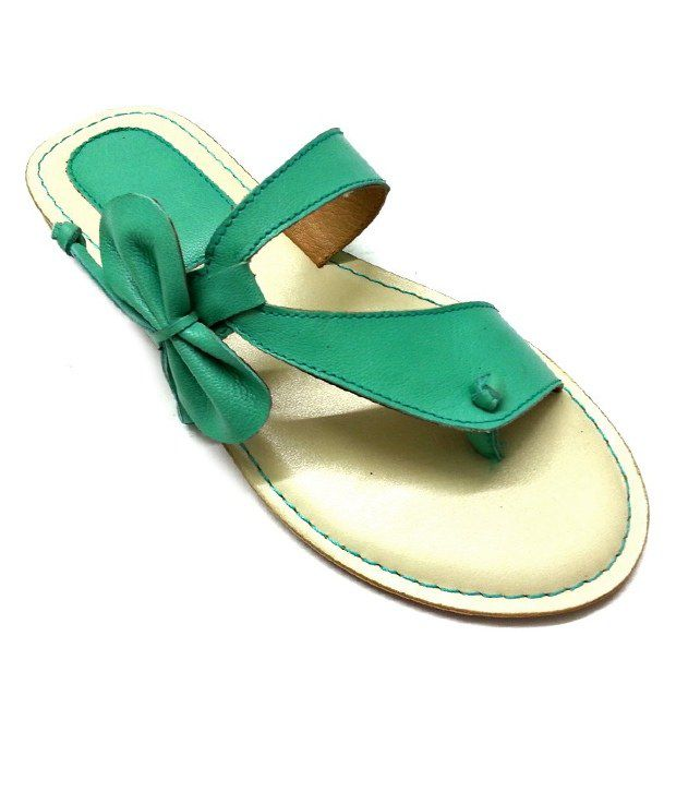 Olive Turquoise Green Bow Flats