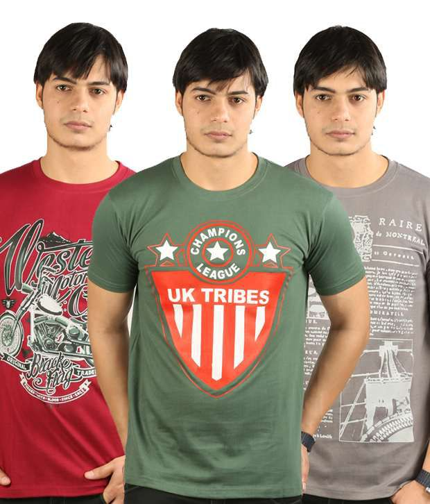 UK Tribes Red-Green-Grey Pack of 3 T Shirts