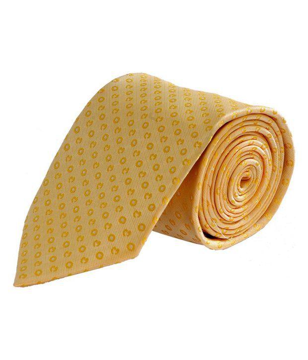 Tiekart Yellow Abstract Design Tie