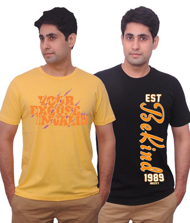 Inkovy Yellow-Black Pack Of 2 Cotton T Shirts