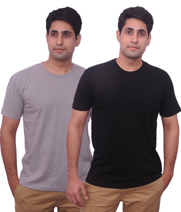 Inkovy Grey-Black Pack Of 2 Stylish Printed T Shirts