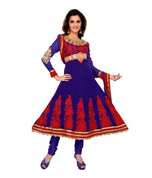 Fabdeal Blue-Red Embroidered Art Crepe Unstitched Suit With Dupatta