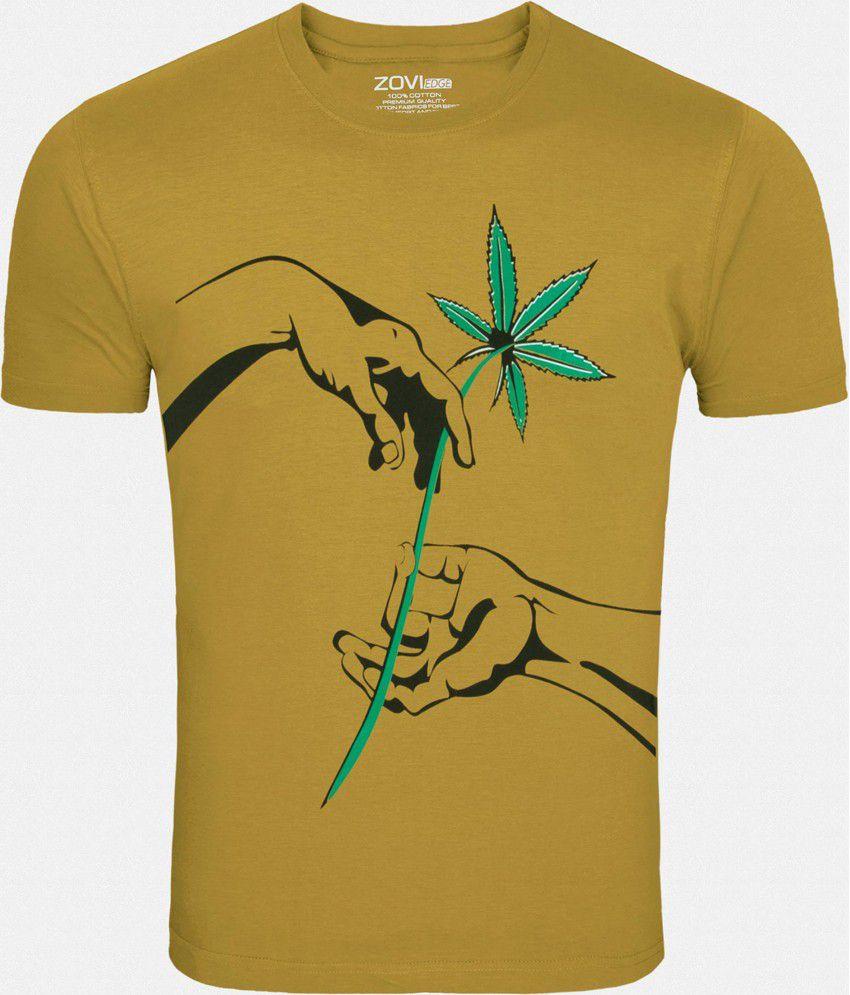 Zovi Yellow Printed Round Neck T Shirt