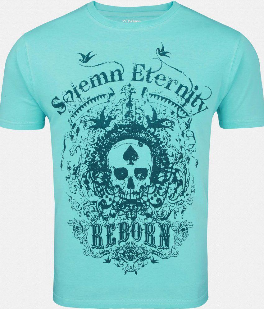 Zovi Elegant Blue Printed Round Neck T Shirt