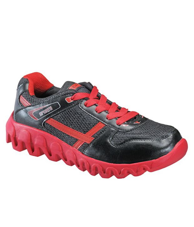 Yepme Privet Trendy Red and Black Sports Shoes