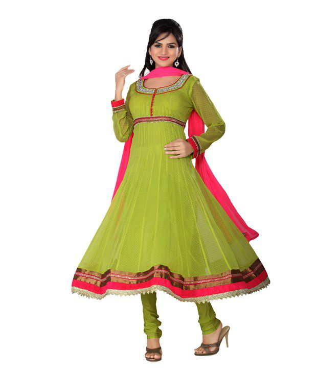 Idha Readymade Light Green Chiffon Anarkali Suit