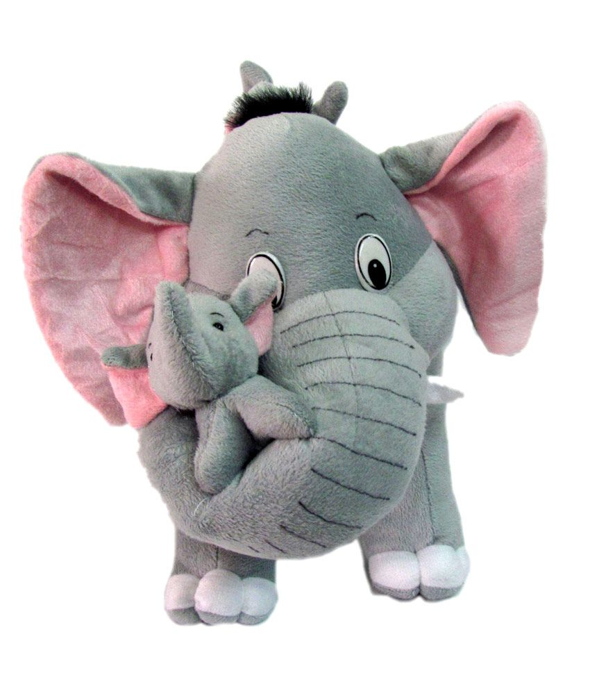 Soft Baby Toys : Tickles mother elephant with babies soft toy cm
