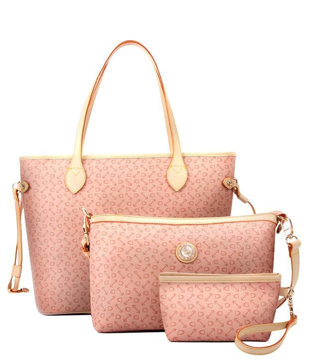 Everything Imported Smart Pink Sholuder Bag Combo