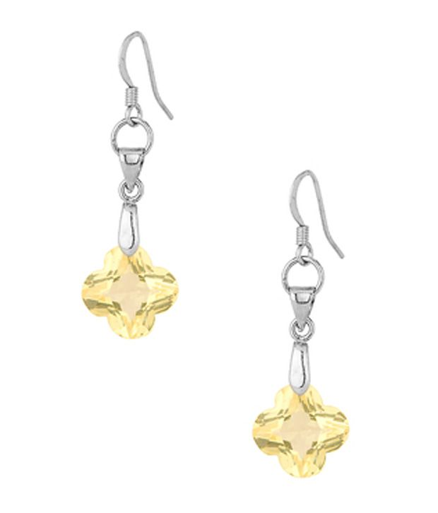Voylla Drop Earrings with a Dangling Star Shaped Yellow Crystal