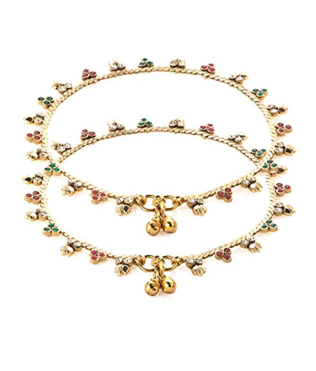 Voylla Gold Plated Cz Studded Anklet Pair With Dainty Floral Look