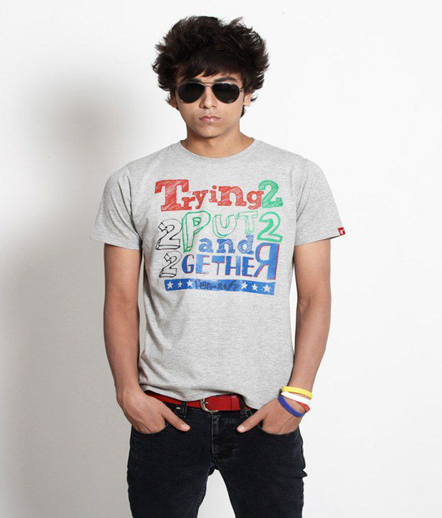 Probase Exclusive Gray Printed T Shirt