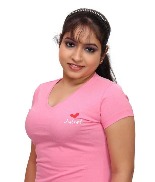 6cb24ed1e3a Buy Textile India Fashion Vogue Juliet Trendy Ladies T-Shirt Pink ...