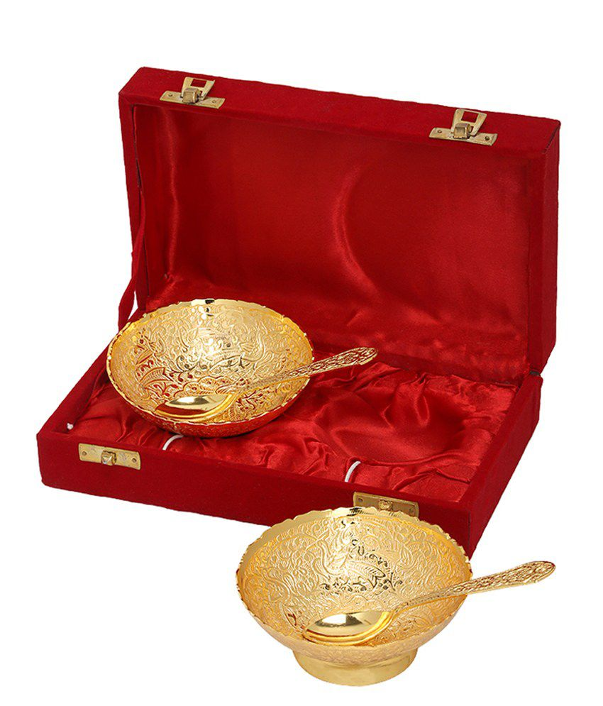 Rajrang Fancy Gold Plated Bowl with Spoon  Pack of 2