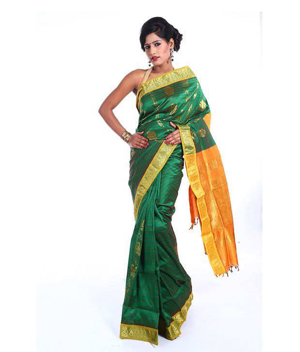 Vida Beautiful Green Art Silk Banarasi Saree