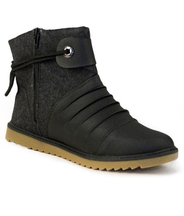 Cefiro Splendid Black Ankle Length Boots