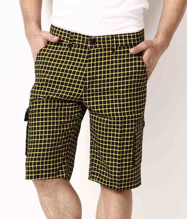 British Terminal Yellow Checkered Shorts