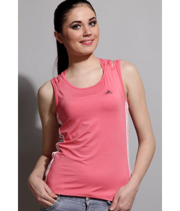 c9f13902ab5d49 Adidas Pink Sleeveless Women - Non-collared T-shirt - Buy Adidas Pink  Sleeveless Women - Non-collared T-shirt Online at Best Prices in India on  Snapdeal