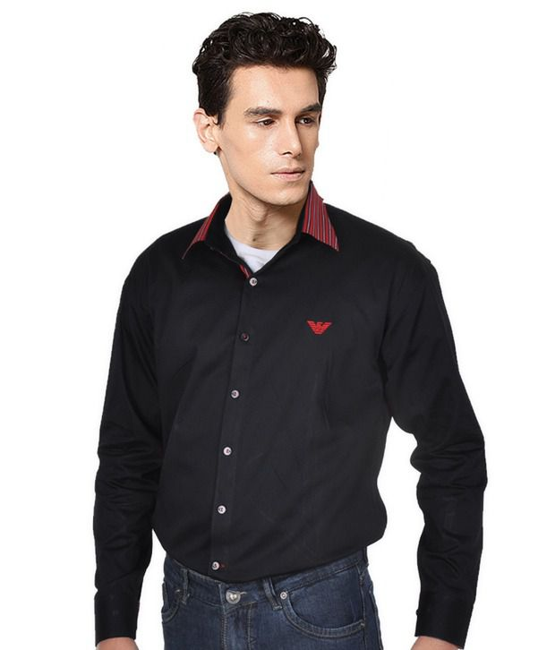 Luck by Chance Black Solid Cotton Shirt