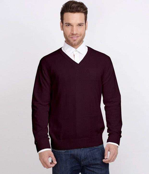 ALX New York Dark Maroon Sweater - Buy ALX New York Dark Maroon ...
