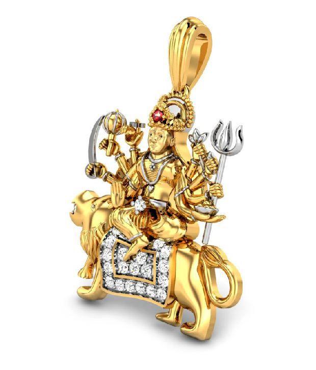 Candere 18kt hallmarked gold diamond durga maa diamond pendant candere 18kt hallmarked gold diamond durga maa diamond pendant mozeypictures Image collections