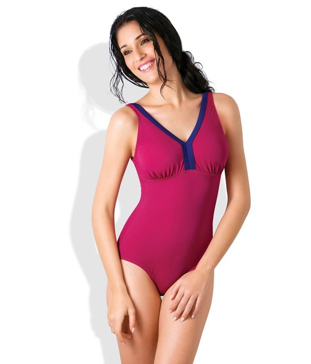 Amante Pink Polyester Swimsuit/ Swimming Costume