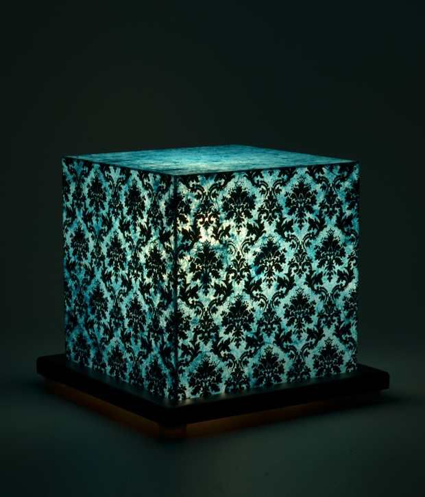 Shady Ideas Paisley Passion Small Blue Acrylic Table Lamp