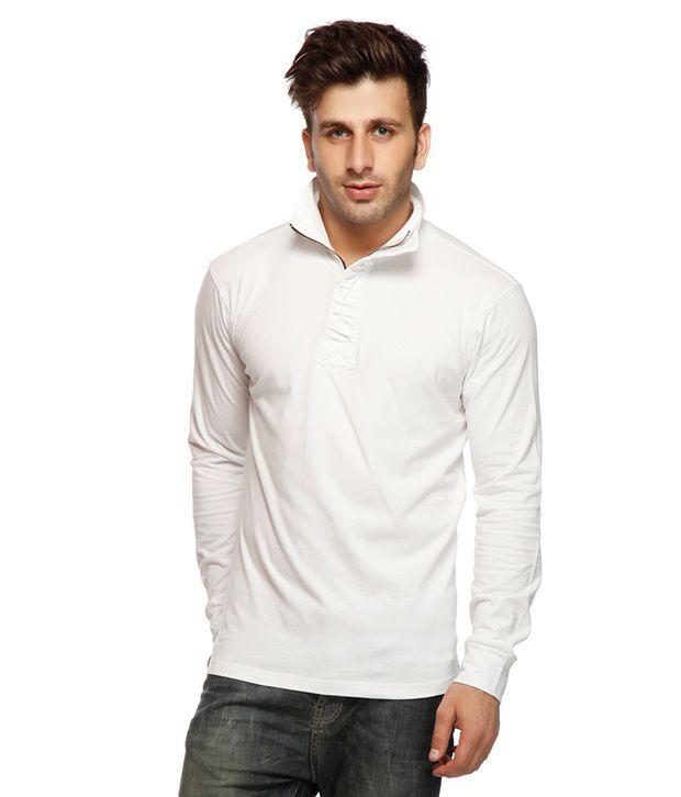 Gritstones White Ruffled Placket T Shirt