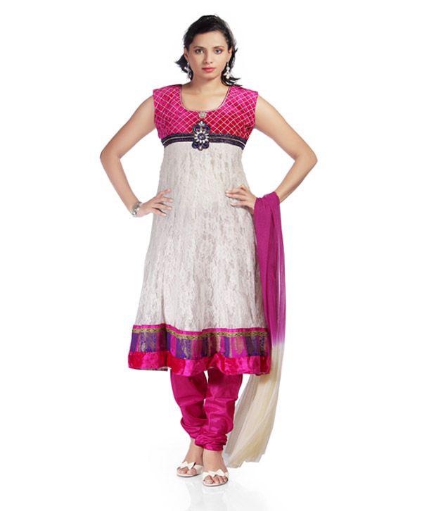 Idha White Anarkali Stitched Salwar Suit