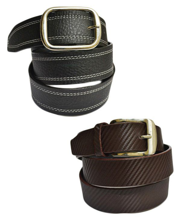 Skyways Single Black & Brown Men's Belt Combo