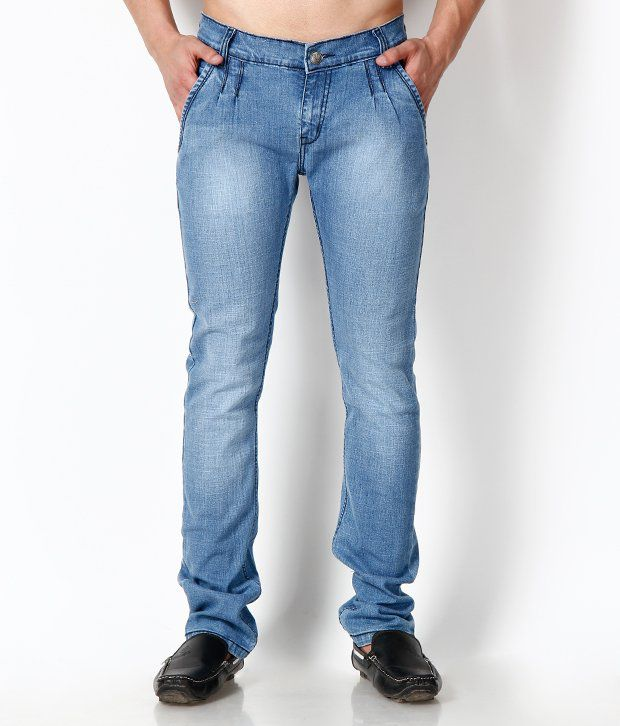 Uomos Light Blue Faded Slim Fit Jeans