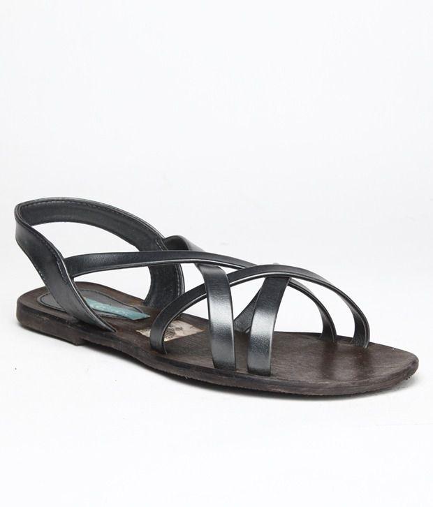 Catwalk Stylish Gun Metal Flat Sandals