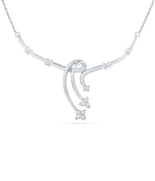 Caratlane Nupur 92.5 Silver Certified, Real Diamond Necklace