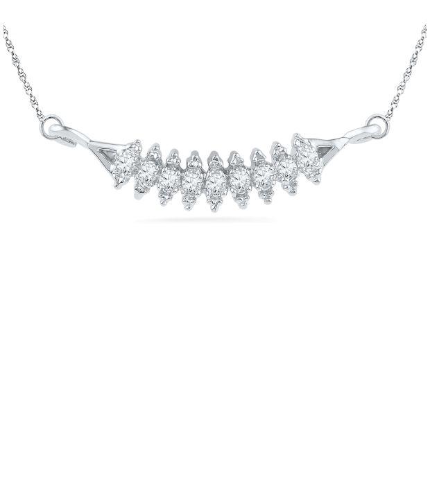 Caratlane Sushmita 92.5 Silver Certified, Real Diamond Necklace