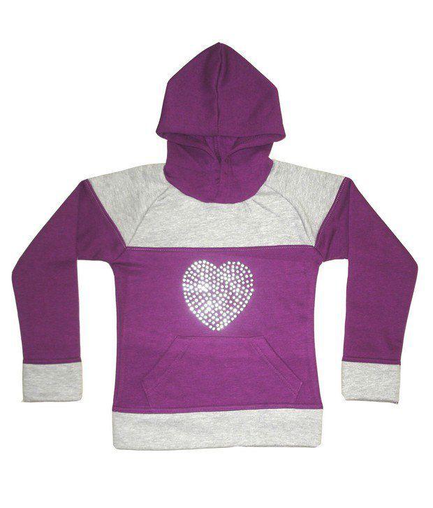 Goodway Girls Purple Cut & Sewn Hooded Sweat Shirt For Kids