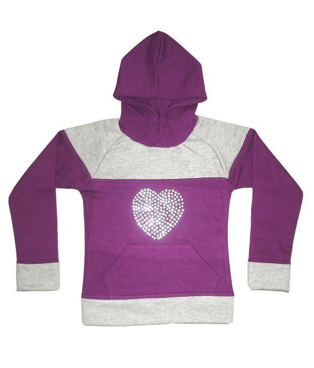 Goodway Girls Purple Cut & Sewn Hooded Sweat Shirt For Kids
