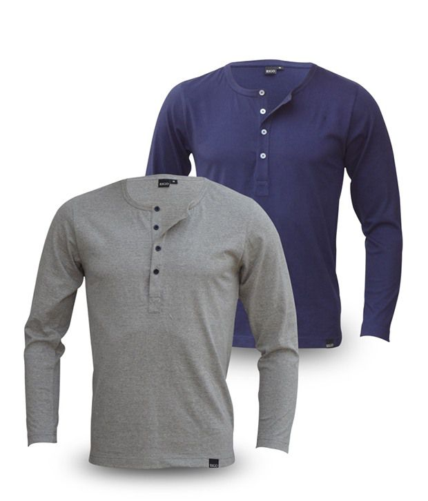 Rigo Pack Of Grey-Navy Full Sleeve T Shirts