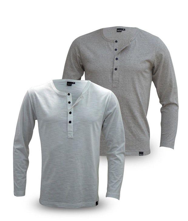 Rigo Pack Of Grey-White Full Sleeve T Shirts