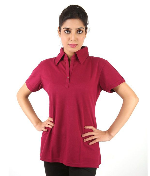 79287b0aa67125 Buy Max Q Fashion Vogue Ladies Plain Polo T-Shirt - Maroon Online at Best  Prices in India - Snapdeal