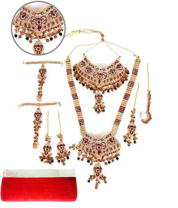 Ethnic Jewels Elegant Design Bridal Set with a Red Clutch Bag